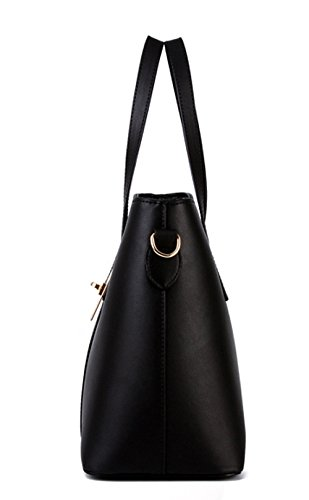 Greeniris Damen Einfach Kunstleder Handtaschen Schultertaschen Geldbeutel Totes Bags + Cross Körper Tasche + Geldbörsen 3pcs Lilac Schwarz