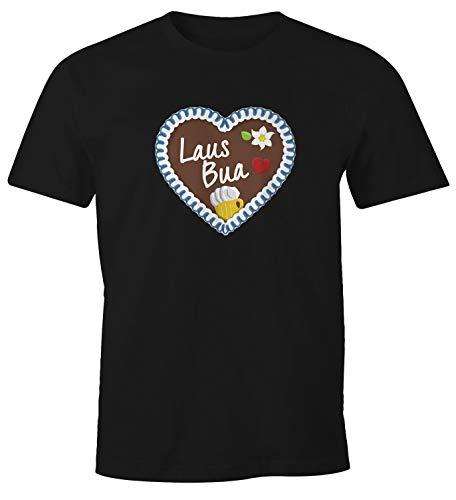 MoonWorks Herren T-Shirt Oktoberfest Lebkuchen Herz Männer Ozapft is Lausbua Wiesn Gaudi Busserl Fun-Shirt Lausbua schwarz M
