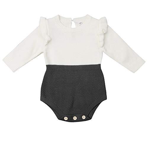 Vawal Neugeborenes Baby Mädchen Lange Ärmel Patchwork Gestrickt Strampler Overall Bodys (0-6MM, Rot) -