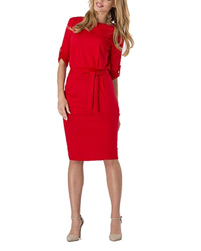 Robe Femmes Demie Manche Casual Robe Slim Rouge
