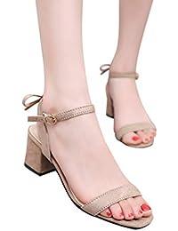 MEIbax Sandali Donna con Plateau Tacchi Alti Elegante Cinturino alla  Caviglia Scarpe Donna con Tacco b0a8d989679