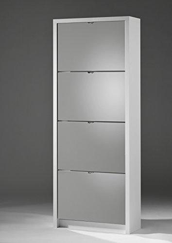 Schuhkipper BIG 4er mit Spiegel 64x164x24, Farbe weiß matt