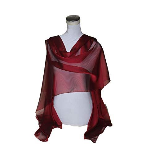 Stola in chiffon fiammato rosso bordeaux borgogna - bellissima - 2.00 x 0.70 mt