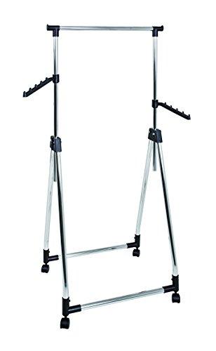 HAKU Möbel 44076 Rollgarderobe Stahl, Kunststoff, chrom  schwarz, 49 x 61 x 99 cm
