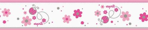 Esprit Kids 219312 Bordüre Lucky Love, Vlies, telemagenta, rosa, reinweiß, staubgrau