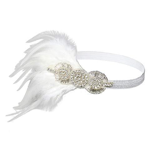 Damen Feder Stirnband Great Gatsby Blatt Blinkende Kristalle Haarband, LEEDY 1920s Stil Flapper Art Deco Inspiriert Party im Retro Style Haarband Stirnbänder Kostüm ()