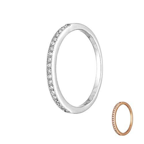 Treuheld® | Schmaler Ring aus 925 Sterling Silver | in Silber mit Zirkonia - Kristallen | Ringgröße 48 | Breite 1,8mm | Damen | Vorsteckring