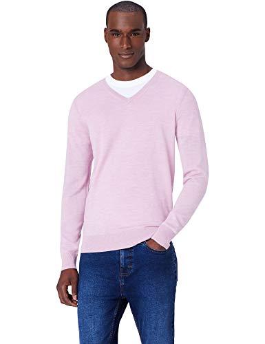 Meraki pullover lana merino uomo scollo a v, rosa (medium pink marl), 52 (taglia produttore: large)