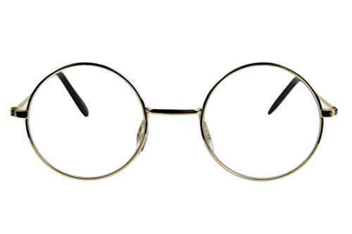 Lesebrillen Damen Herren beige champagner glänzend große runde Gläser dünner Metallrahmen leicht schmale Bügel Lesehilfe Sehhilfe 1.0 1.5 2.0 2.5 3.0 mit Etui, Dioptrien:Dioptrien 3.0