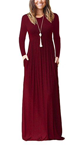 VIISHOW Frauen Langarm lose Plain Maxi Kleider Casual lange Kleider mit Taschen (Weinrot L) (Stretch Kleid Langes)