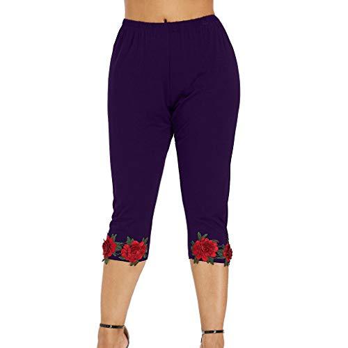 DEELIN Mode Womens Casual Plus Size hoch taillierte Rose Applique Leggings ()