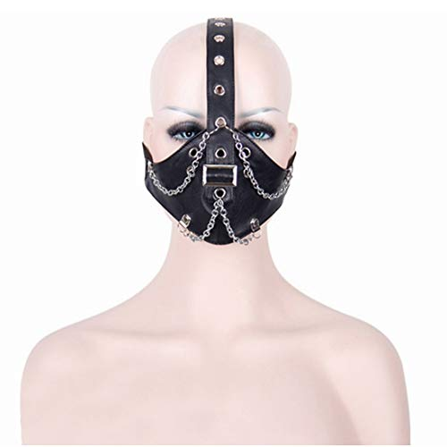 YUMUYMEY Coole Kette Design Motorrad Anti Staubmaske Half Face Gothic Steampunk Biker Männer Cosplay Wind Cool Punk Halloween Maskerade Maske (Color : Black)