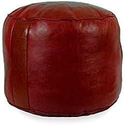 Puff de Cuero reposapiés Liso Color Granate (Granate) Mide Aproximadamente 40 cm de diámetro y 35 cm Alto