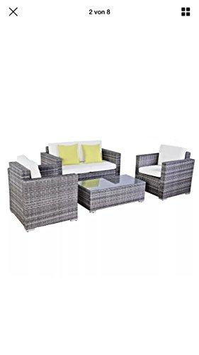 floristikvergleich.de 15tlg.Poly Rattan Sofa Gartenmöbel Lounge Set Gruppe Sitzgruppen Gartengarnitur Seseel