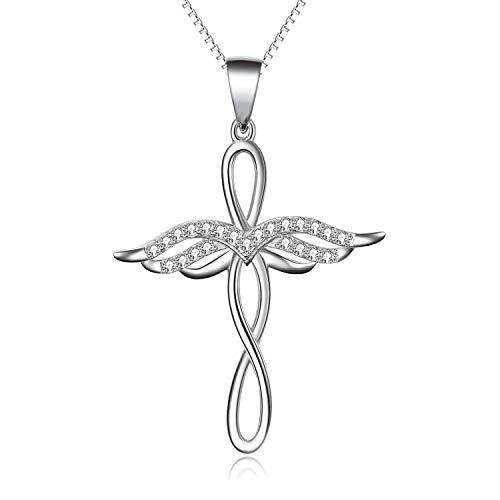 Engel Kreuz Kette 925 Sterling Silber Schutzengel Unendliche Liebe Kruzifix Anhänger Halskette für Damen Mädchen Kinder (Engelsflügel kreuz kette B)