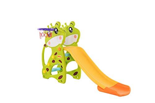 Clamaro 'Crazy Zoo 2in1' Garten Spielplatz Rutsche mit Basketballkorb für draußen und drinnen, Kinder Gartenrutsche mit mit extra Breiten Trittstufen und abgerundeten Ecken und Kanten