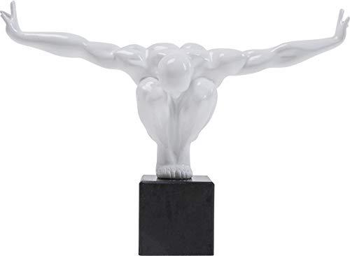 Deko Objekt Athlet, Weiß, moderne, kleine Dekorationsfigur aus Fiberglas, Fitness Statue Design Mann, Skulptur, (H/B/T) 29x43x15cm