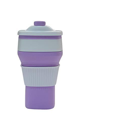 Silikon Faltbare Kaffeetasse Outdoor Sports Fitness Cup Versenkbare Tasse Lila 300ml