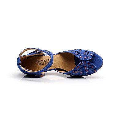 Azul Sandálias Vermelho Dança De Latino Azul Sapatos Mulheres Xiamuo Salsa Camurça Agulha Verde Salto Interior De Profissional q0wOU