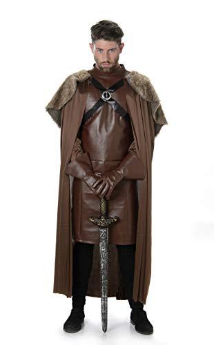 Mittelalterliche Ritter Krieger Mens Fancy Dress Spiel der Throne Erwachsene Kostüm Outfit (Mens Mittelalterliche Ritter Kostüm)