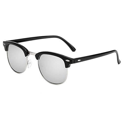 Herren Sonnenbrille Half Frame Retro Brille Sonnenbrille Damen Fahrpersönlichkeit Fahrbrille Schwarz Silber Rahmen Grau Stück (Sende Spiegeltasche Stoff), Schwarz Silber Rahmen Weiß Quecksilber (Send