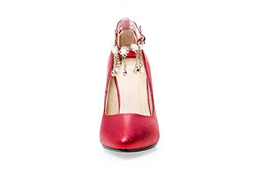 AllhqFashion Femme Boucle Fermeture D'Orteil Pointu Stylet Couleur Unie Chaussures Légeres Rouge