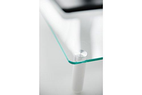 DIGITUS Universal Glas Monitorerhöhung, 13-32 Zoll, 8cm Erhöhung, 56 x 21 x 8 cm, bis 20kg, Durchsichtig/Silber - 3