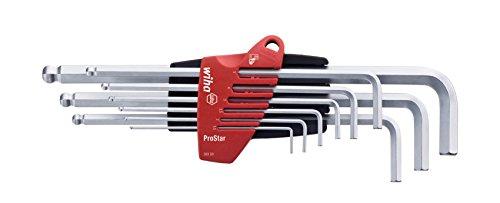 Wiha SB 369 S9 Jeu de clé mâles six pans à tête sphérique dans étui ProStar 9 pièces Chrome mat 07192