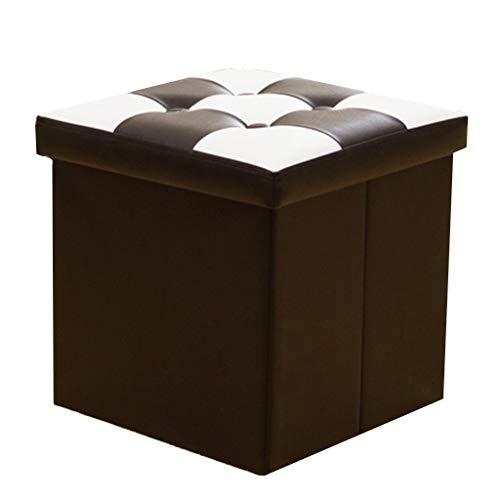 GR-XMD Hocker, Leather Production Folding Tragbare Osmanische Aufbewahrungsbox Einzelne Aufbewahrungshocker, Spart Platz im Innenraum,Sofa Hocker (Farbe : SCHWARZ, größe : 31 * 31 * 31cm) - Osmanischen Schwarz Folding
