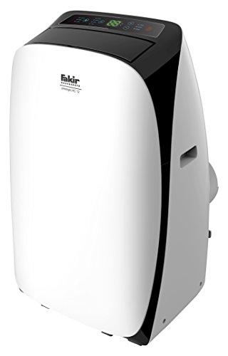 Fakir AC 12 Prestige / mobiles Klimagerät, Luftentfeuchter, Klimaanlage für Wohnung, Raumklima-Gerät, Heizlüfter, inkl. Display & Temperatursensor - 1.3 kW weiß/schwarz