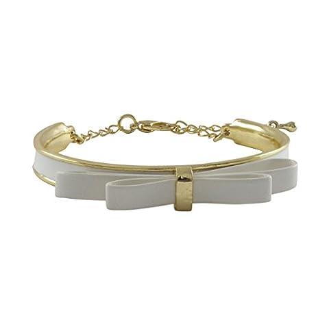 Kleine Schätze - Weiß Bogen Emaille Vergoldet Armreif Armband Armband, 5.5