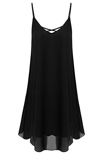 EasyMy Damen Kleid Tunika Casual T-Shirt Schulterfrei Cold-shoulder Schwarz-5