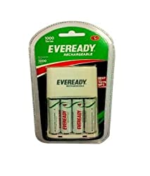 Eveready 1000 Series AA NiMH Charger with 4 AA Rechargeable batteries 700 mAh