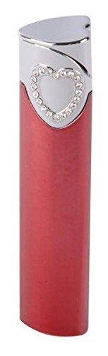 Damen Feuerzeug Hadson SL GV Heart rot mit weißen Swarovski-Steinen Piezo