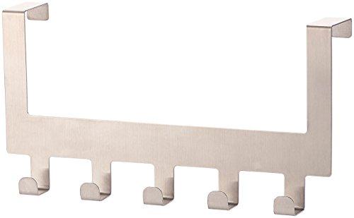 Carlo Milano Türhakenleiste: Edelstahl-Türgarderobe mit 5 Haken, für Türen bis 4,5 cm Dicke (Hakenleiste) Aufhänger Der Rückseite Der Tür