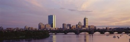 Panoramic Images - Bridge with city at the waterfront Charles River Back Bay Longfellow Bridge Boston Suffolk County Massachusetts USA Photo Print (91,44 x 30,48 cm) - Suffolk Bay