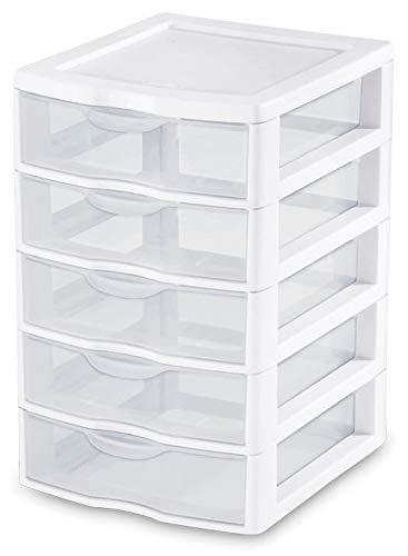 1) Neue Sterilite 20758004Clearview klein 5Schublade Desktop Stauraum weiß -