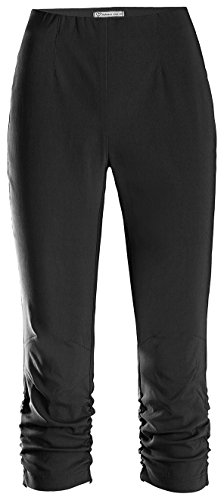 Schwarze Geraffte Tasche (Stehmann Maria-530, stretchige Caprihose, seitlich gerafft Farbe schwarz, Größe 44)