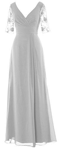 MACloth Women Half Sleeves Long Mother of the Bride Dress V Neck Formal Gown white