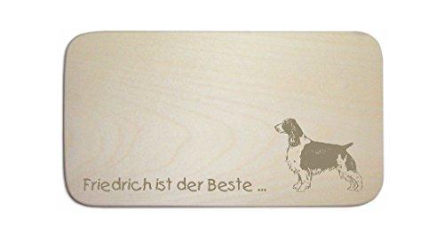 Tovaglietta americana « Springer Spaniel » incl. pers. Incisione-cartello-Tagliere da colazione cane
