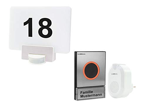 Link2Home Funk Türklingelset Edelstahl mit Gong + LED Hausnummernleuchte RGB mit Bewegungsmelder, Handy App