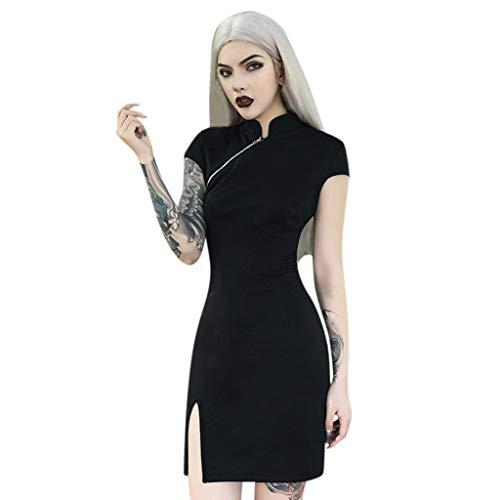 Kostüm Chinesische Qipao - Damen Gothic T-Shirt Punk Schwarz Kleid Kurzarm Shirt Kleid Top Mode Freizeit Oberteil Elegant Wunderschön Streetwear Mini Kleider Piebo Cheongsam Kleid Qipao Chinesisches Kostüm Cospla (S, Schwarz-1)