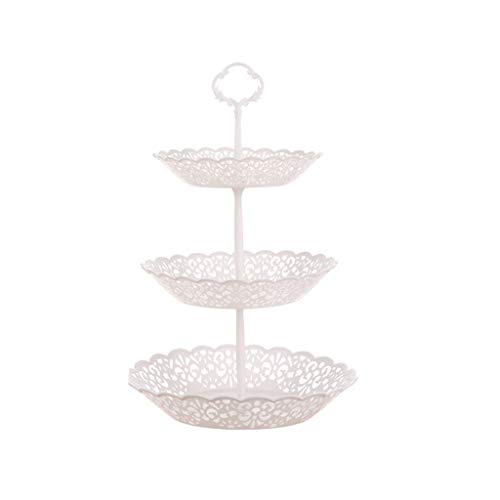 Buffet Display Stand (fasloyu 3 Tier Cupcake Stand, Cake Dessert Wedding Party Display Tower Plate Round, Fruit Desserts Cupcake Candy Buffet Plastic Round Plate (Weiß))