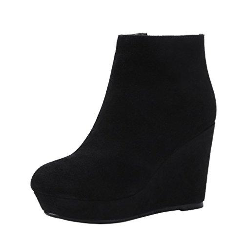 Y2Y Studio Femme Bottes Chaussures Cheville Cuir Suède Bout Rond Talons Compensés Couleur Unie Simple pour Hiver Confortables Simples