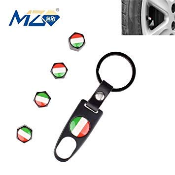 Uniqus Universal 8mm Italy Flag Pattern Replacement Aluminum Alloy Car Tire Valve Caps + Key Ring Set