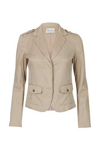 Promiss Damen Blazer Einfarbig Basary Casual Business Jacke Taupe, 038 - Taupe Blazer Jacke