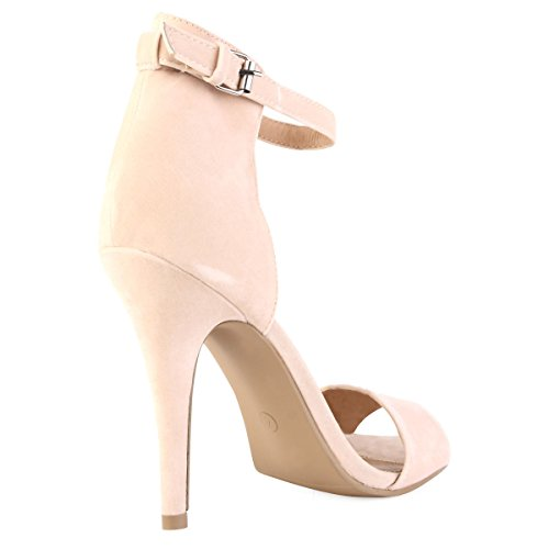 Ladies High Stiletto Heel Open Toe Back Ankle Strap Faux Suede Sandals Shoes 3-8 L NUDE / CREAM