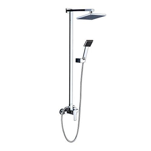 Auralum® Design-Dusch-System für Regendusche, Set mit Stange, Thermostatmischer und Duschkopf (Sets Halloween-badezimmer)