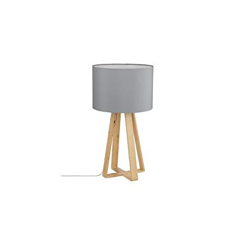 Lampe à poser avec pied en bois naturel - Style Nordique - Coloris GRIS