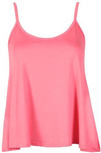 Purple Hanger - T-Shirt Haut Caraco Femme Bretelle Fine Encolure Arrondie Sans Manche Uni Neuf Corail